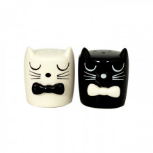 Set poivre sel chat noir et blanc