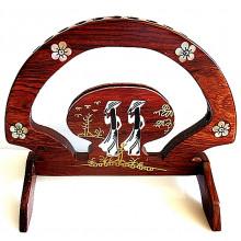 Support en bois avec nacre incrusté pour baguettes chinoises 10 baguettes