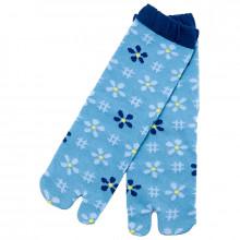 Chaussettes tabi à fleurs bleues Kurochiku