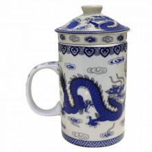 Tasse à thé avec  filtre motif dragon