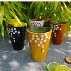Coffret de 6 verres dépareillés floraux