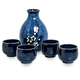 Service à saké Hana Bleu