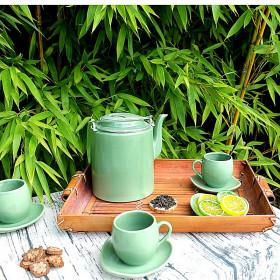 Set théière et tasses en porcelaine verte