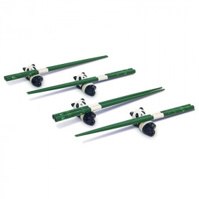 Coffret baguettes motifs bambou avec les poses baguettes en forme de panda