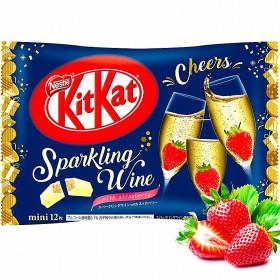 Mini KitKat version limitée chocolat blanc saveur champagne et fraise 130g 12 pièces