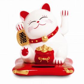 Chat Maneki Neko blanc avec bras amovible à énergie solaire - 7.5cm