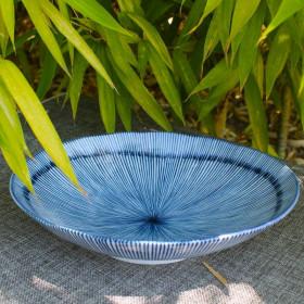 Assiette présentation japonaise bleue - 23cm