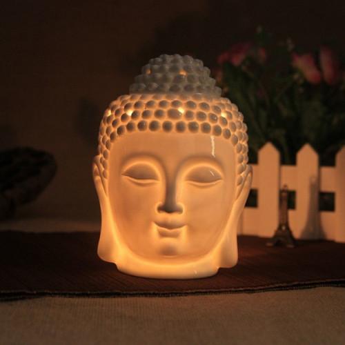 """Diffuseur d'huiles essentielles """"tête de Bouddha"""" blanc  + bougeoire"""