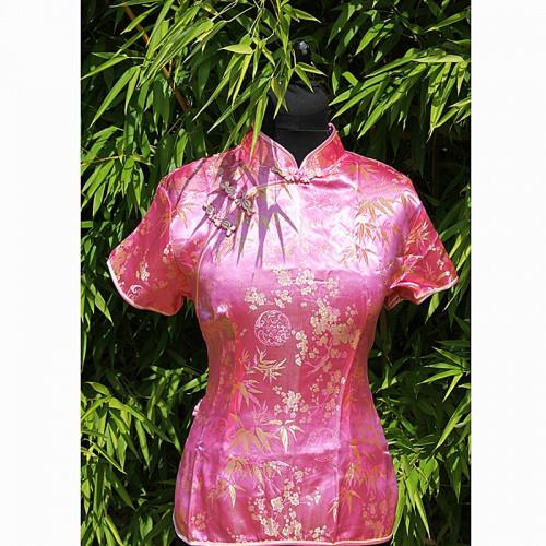 Top de style Asiatique rose 2 boutons