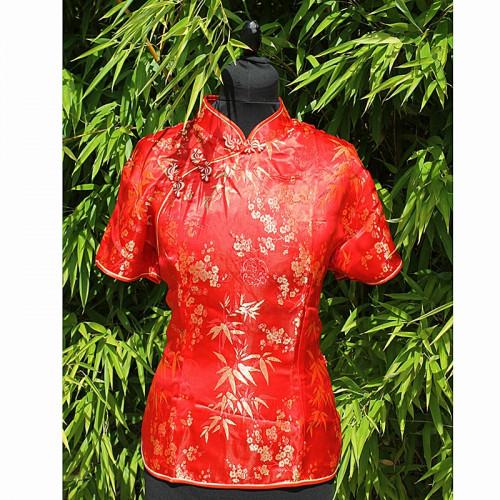 Top de style Asiatique rouge 2 boutons