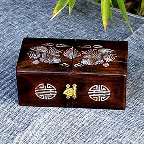 Boîte en bois précieux motif dragon en nacre