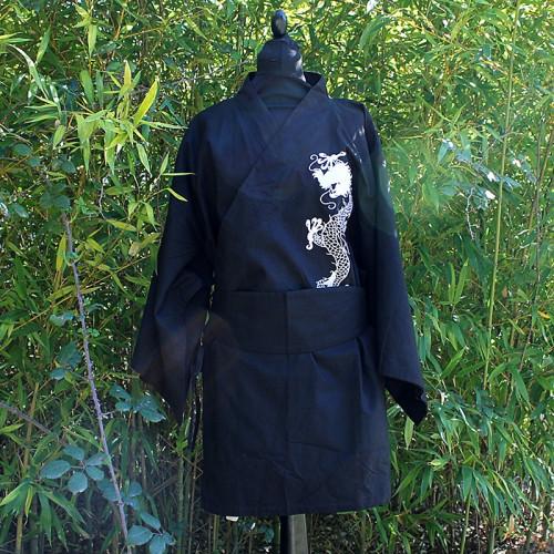 Kimono noir soie motif dragon blanc taille unique