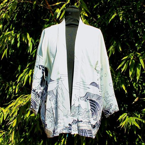 Kimono blanc à motif vague et dragon