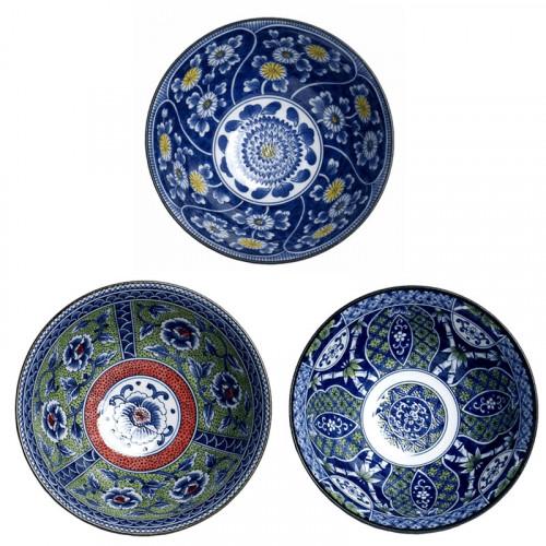 Coffret 3 bols bleus Japonais 18cm