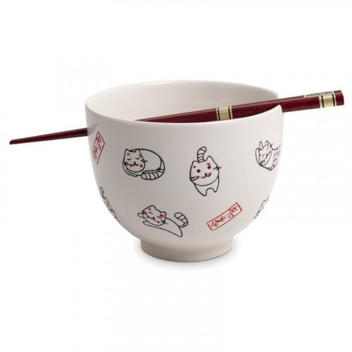 Set de 4 Bols à soupe avec baguette - Happy Cat