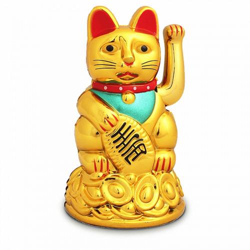 Chat Maneki Neko doré avec bras amovible à pile - 15cm