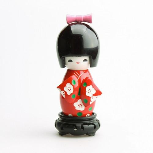Grande poupée kokeshi rouge fleurs blanches de prunier