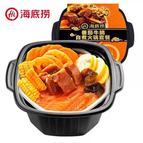Fondue Chinoise auto-chauffante Saveur bœuf/tomate avec des morceaux de bœuf et légumes 395g Haidilao