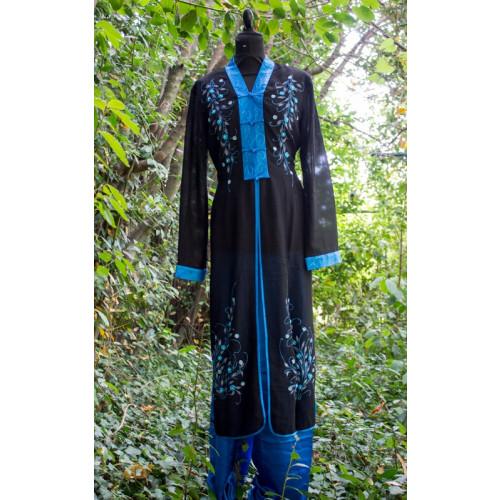 Ensemble tunique et pantalon bleu pailleté