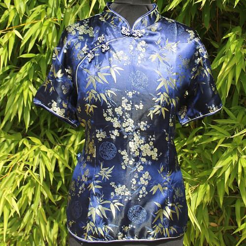Chemisier style asiatique bleu