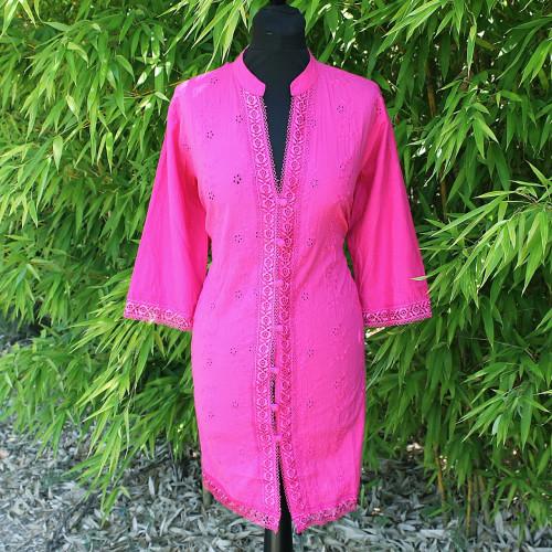Robe/Tunique brodée rose