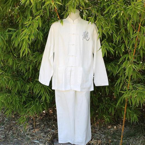 Ensemble veste et pantalon blanc motif dragon gris