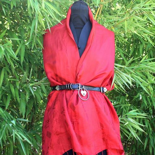 Foulard rouge motif bambou