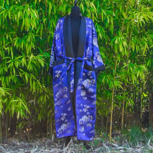 Kimono bleu foncé broderie floral - Taille Unique
