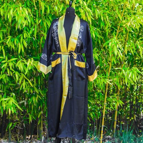 Kimono réversible motif dragon couleurs noir ou or