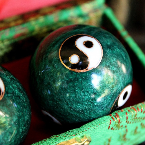Boules de santé Qi Gong verts émeraude - 2 boules