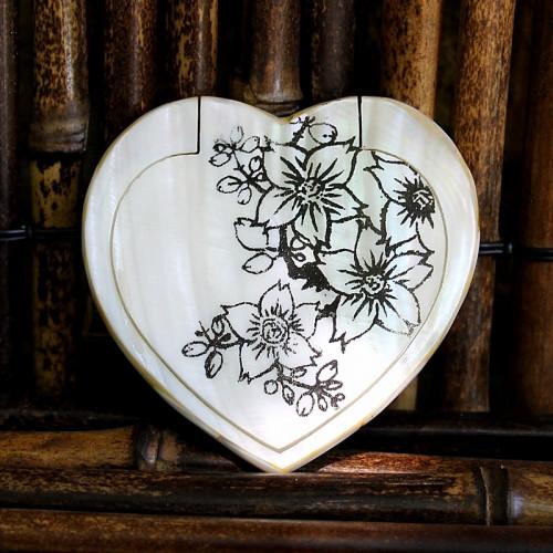 Miroir de poche nacre et fleurs