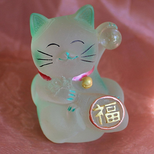 Maneki Neko en verre Lucky Cat