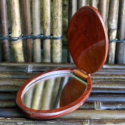 Miroir de poche en bois précieux et nacre