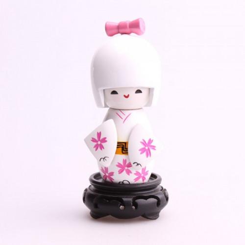 Moyenne poupée kokeshi blanc motifs fleurs blanches de chrysanthème