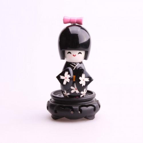 Petite poupée kokeshi noir  fleurs blanches de prunier
