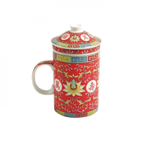 Tasse Qing rouge avec filtre motif dragon