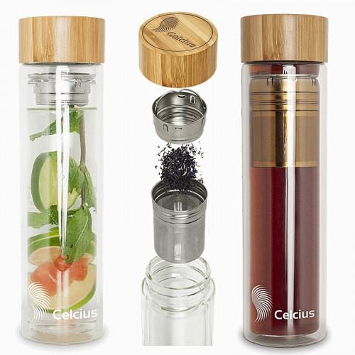 Thermos à double paroi avec couvercle en bambou 500 ml pour boissons froides ou chaudes