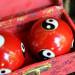 Boules de santé Qi Gong rouge intense - 2 boules