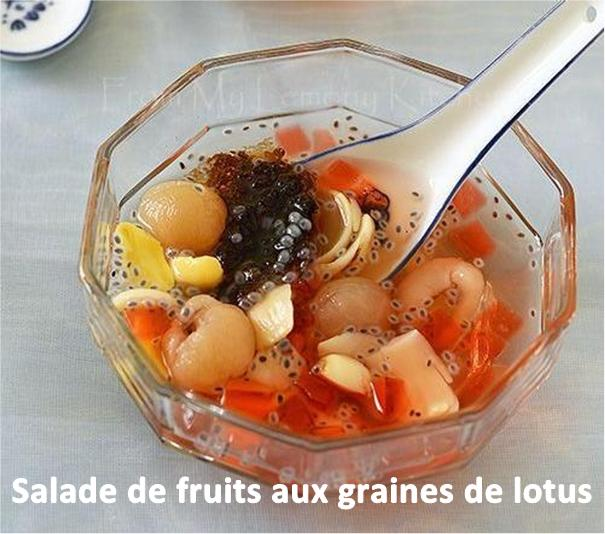Salade de fruits aux graines de lotus